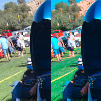 Two versions of a car show photograph showing that correcting a color cast in the wrong RGB working space produces wrong results.